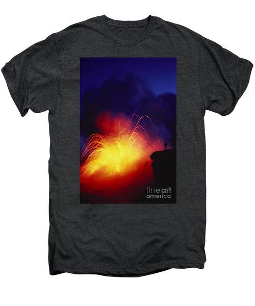 Exploding Lava And Person Men's Premium T-Shirt by Greg Vaughn - Printscapes