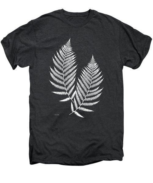 Men's Premium T-Shirt featuring the mixed media Fern Pattern Black And White by Christina Rollo