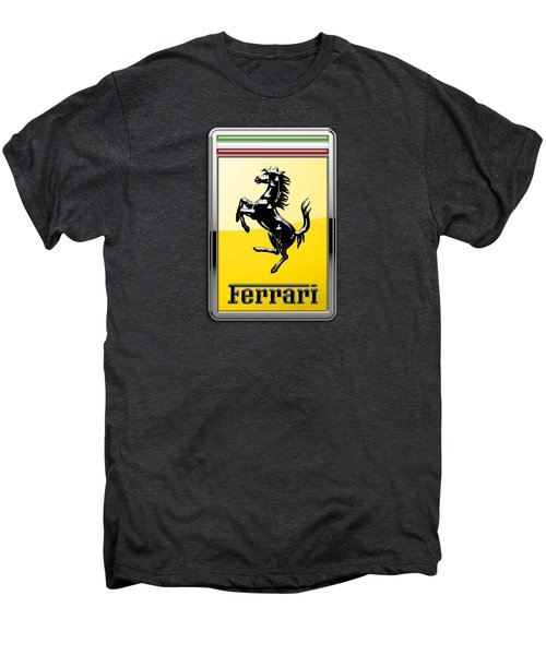 Ferrari 3d Badge- Hood Ornament On Black Men's Premium T-Shirt