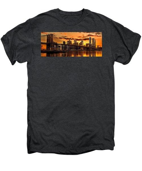 Fiery Sunset Over Manhattan  Men's Premium T-Shirt