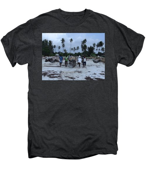 Fisherman Heading In From Their Days Catch At Sea With A Wooden Dhow Men's Premium T-Shirt