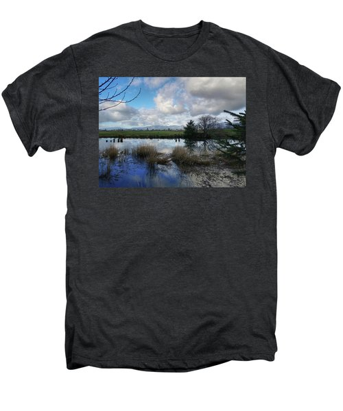 Flooding River, Field And Clouds Men's Premium T-Shirt