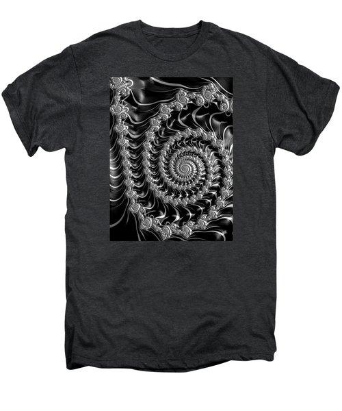 Fractal Spiral Gray Silver Black Steampunk Style Men's Premium T-Shirt by Matthias Hauser