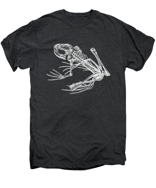 Frog Skeleton In Silver On Black  Men's Premium T-Shirt