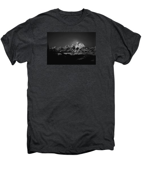 Full Moon Sets In The Tetons Men's Premium T-Shirt