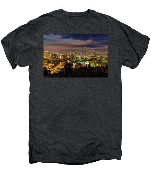 Full Moon Rising Over Downtown Portland Men's Premium T-Shirt