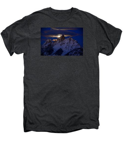 Full Moon Sets Over The Grand Teton Men's Premium T-Shirt