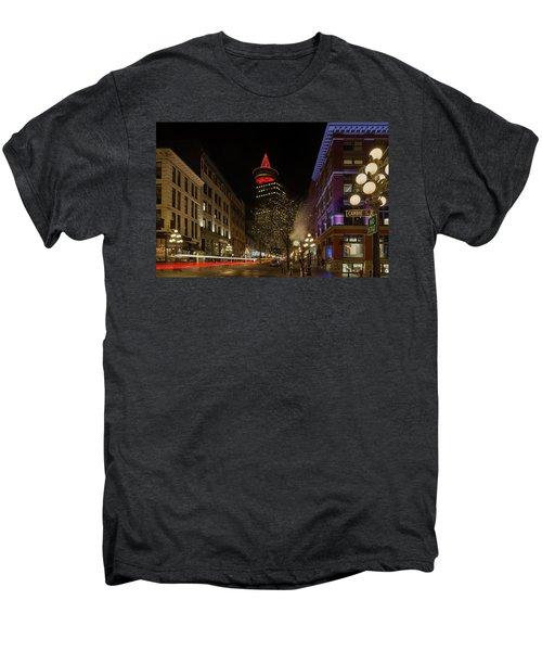 Gastown In Vancouver Bc At Night Men's Premium T-Shirt