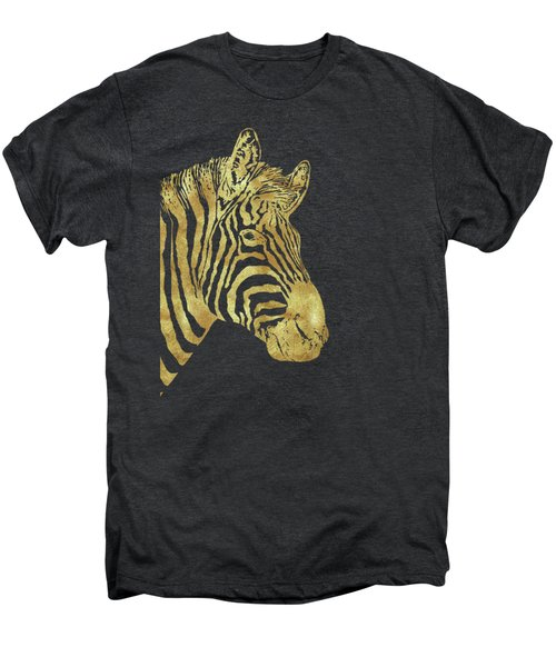 Gilt Zebra, African Wildlife, Wild Animal In Painted Gold Men's Premium T-Shirt