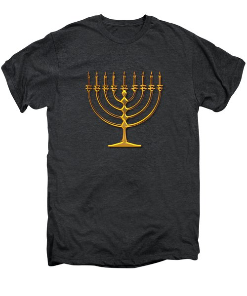 Golden 3-d Look Menorah  Men's Premium T-Shirt