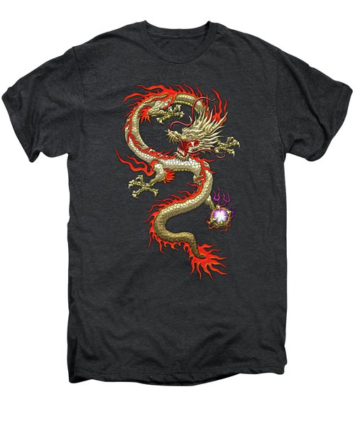 Golden Chinese Dragon Fucanglong On Black Silk Men's Premium T-Shirt by Serge Averbukh