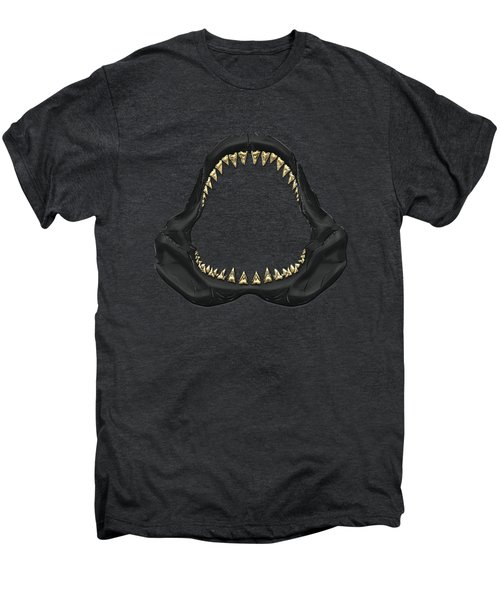 Great White Shark - Black Jaws With Gold Teeth On Black Canvas Men's Premium T-Shirt by Serge Averbukh