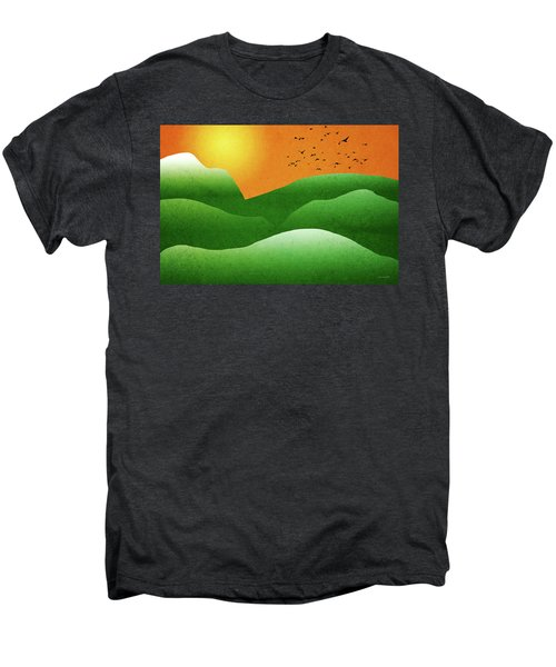 Green Mountain Sunrise Landscape Art Men's Premium T-Shirt