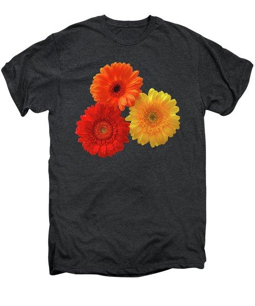 Happiness - Orange Red And Yellow Gerbera On Black Men's Premium T-Shirt by Gill Billington