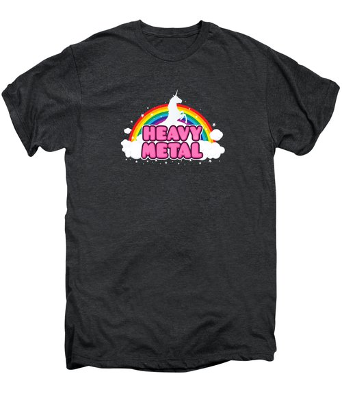 Heavy Metal Funny Unicorn  Rainbow Mosh Parody Design Men's Premium T-Shirt by Philipp Rietz