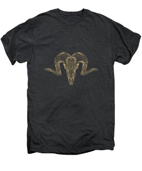Horned Skulls - Gold Ram Skull X-ray Over Black Canvas No.1 Men's Premium T-Shirt