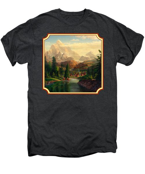 Indian Village Trapper Western Mountain Landscape Oil Painting - Native Americans -square Format Men's Premium T-Shirt