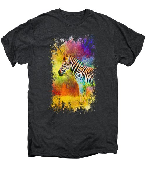 Jazzy Zebra Colorful Animal Art By Jai Johnson Men's Premium T-Shirt by Jai Johnson
