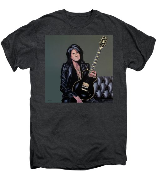 Joe Perry Of Aerosmith Painting Men's Premium T-Shirt by Paul Meijering