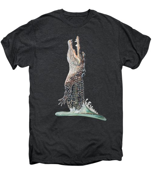 Jumping Gator Men's Premium T-Shirt by Jennifer Rogers