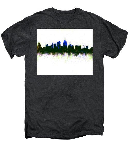 Kansas City Skyline Blue  Men's Premium T-Shirt by Enki Art
