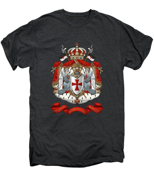 Knights Templar - Coat Of Arms Over Black Velvet Men's Premium T-Shirt