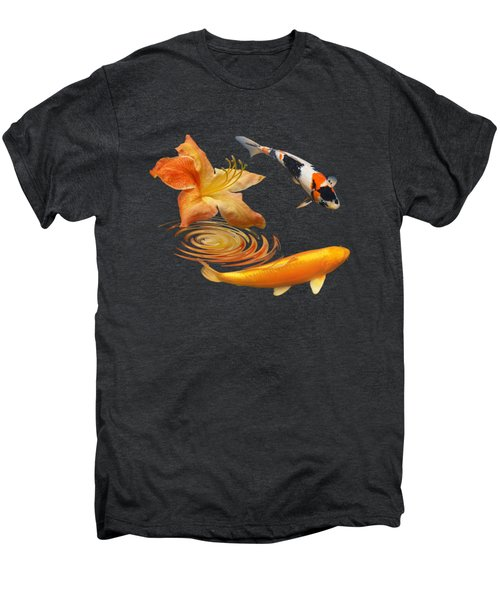Koi With Azalea Ripples Square Men's Premium T-Shirt by Gill Billington