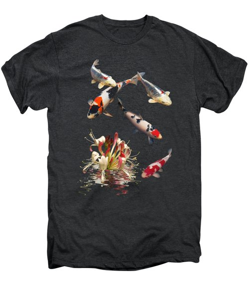 Koi With Honeysuckle Reflections Vertical Men's Premium T-Shirt by Gill Billington
