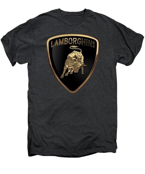Lamborghini - 3d Badge On Black Men's Premium T-Shirt by Serge Averbukh