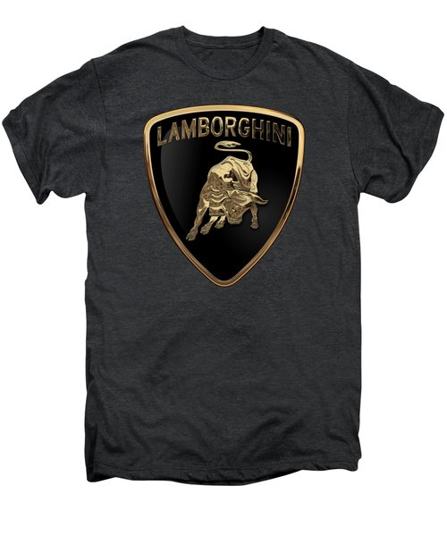 Lamborghini - 3d Badge On Black Men's Premium T-Shirt