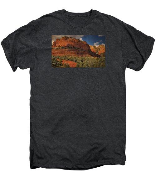 Late Light At Brin's Mesa Txt Pano Men's Premium T-Shirt