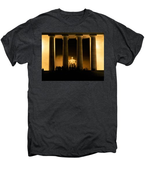 Lincoln Memorial Illuminated At Night Men's Premium T-Shirt by Panoramic Images