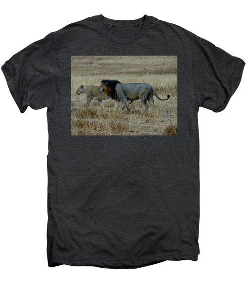Lion And Pregnant Lioness Walking Men's Premium T-Shirt