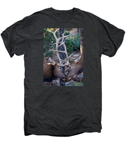 Locking Horns - Well Antlers Men's Premium T-Shirt by Rikk Flohr