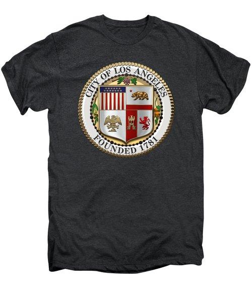 Los Angeles City Seal Over Black Velvet Men's Premium T-Shirt