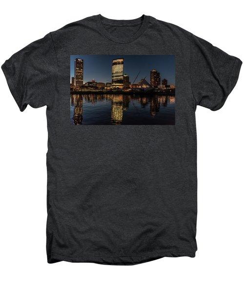 Men's Premium T-Shirt featuring the photograph Milwaukee Reflections by Randy Scherkenbach