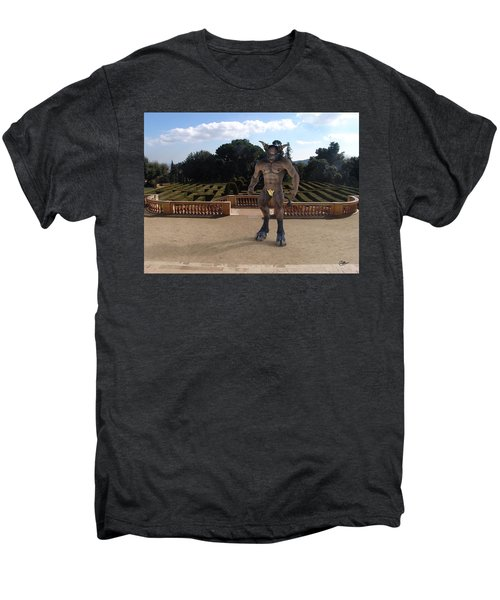 Minotaur In The Labyrinth Park Barcelona. Men's Premium T-Shirt by Joaquin Abella