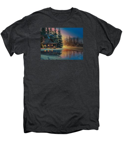 Men's Premium T-Shirt featuring the painting Misty Refection by Al Hogue