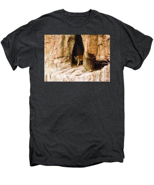 Mountain Lion In The Desert Men's Premium T-Shirt