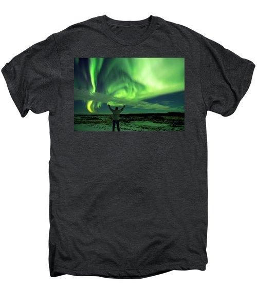 Northern Light In Western Iceland Men's Premium T-Shirt by Dubi Roman