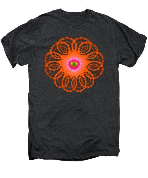Orange Fractal Art Mandala Style Men's Premium T-Shirt by Matthias Hauser