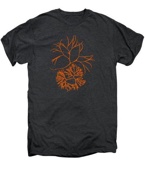 Men's Premium T-Shirt featuring the mixed media Orange Seaweed Marine Art Furcellaria Fastigiata by Christina Rollo