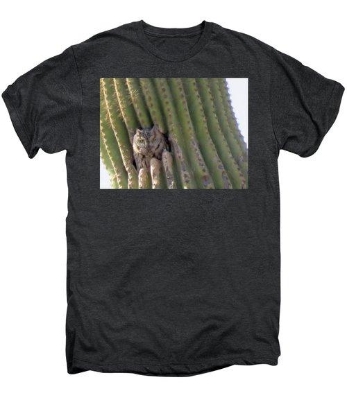 Owl In Cactus Burrow Men's Premium T-Shirt