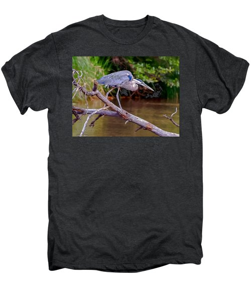 Painting Blue Heron Oak Creek Men's Premium T-Shirt by Dr Bob Johnston