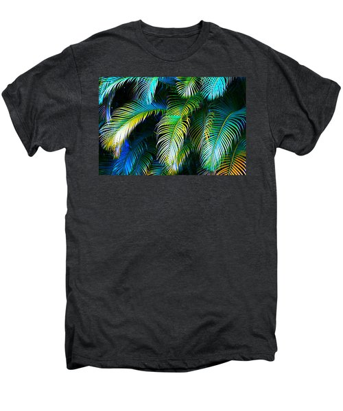 Palm Leaves In Blue Men's Premium T-Shirt by Karon Melillo DeVega
