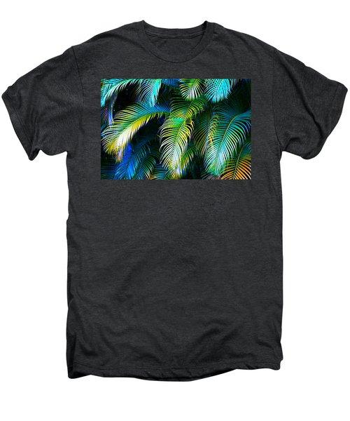 Palm Leaves In Blue Men's Premium T-Shirt