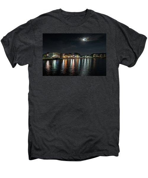 Pewaukee At Night Men's Premium T-Shirt by Randy Scherkenbach