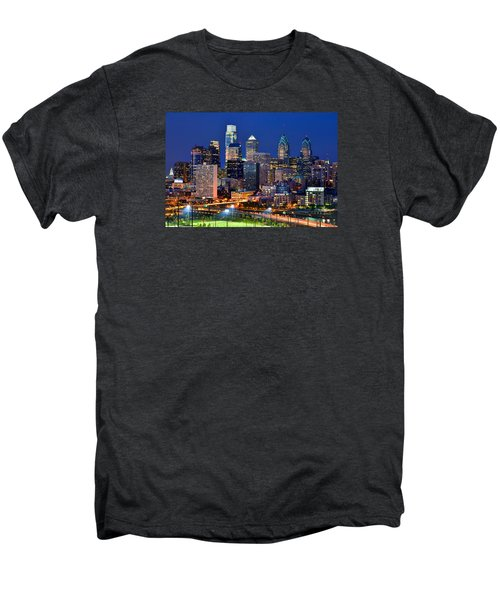 Philadelphia Skyline At Night Men's Premium T-Shirt by Jon Holiday