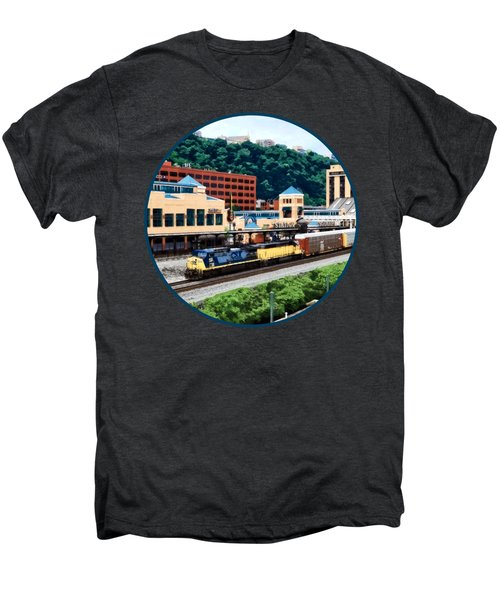 Pittsburgh Pa - Freight Train Going By Station Square Men's Premium T-Shirt by Susan Savad