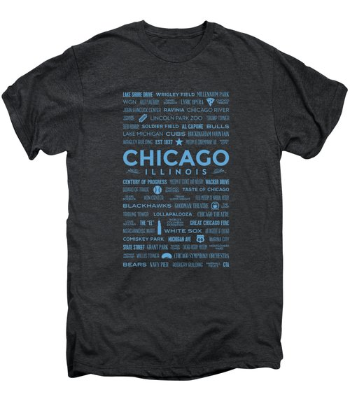 Places Of Chicago Blue On Black Men's Premium T-Shirt